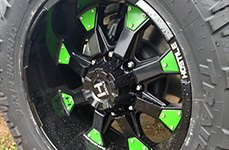 HOSTILE® - KNUCKLES Satin Black with Green Inserts on Jeep Wrangler Close-Up