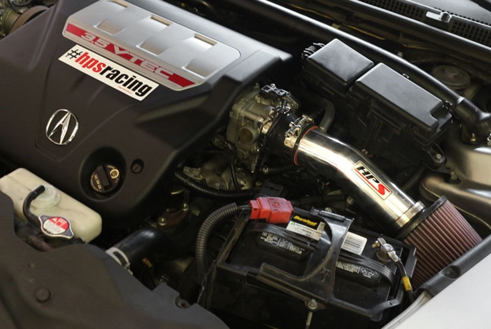 HPS Acura TL Aluminum Short Ram Air Intake System With Red - 2005 acura tl cold air intake