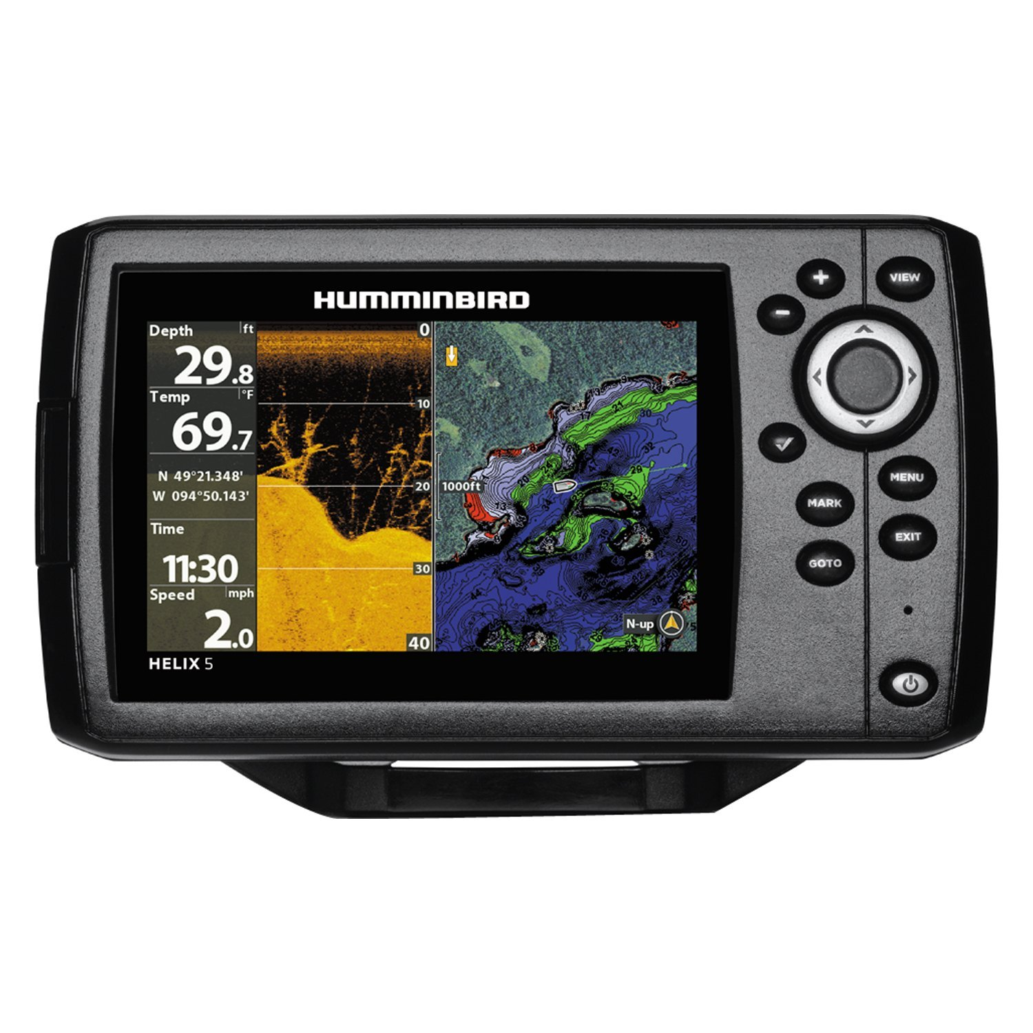 humminbird 410220 1 helix g2 5 di gps 5 fish finder chartplotter with transducer basemap. Black Bedroom Furniture Sets. Home Design Ideas