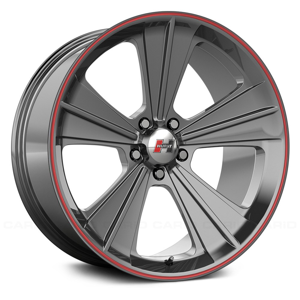 Hurst 174 Missile Wheels Grey With Red Pinstripe Rims