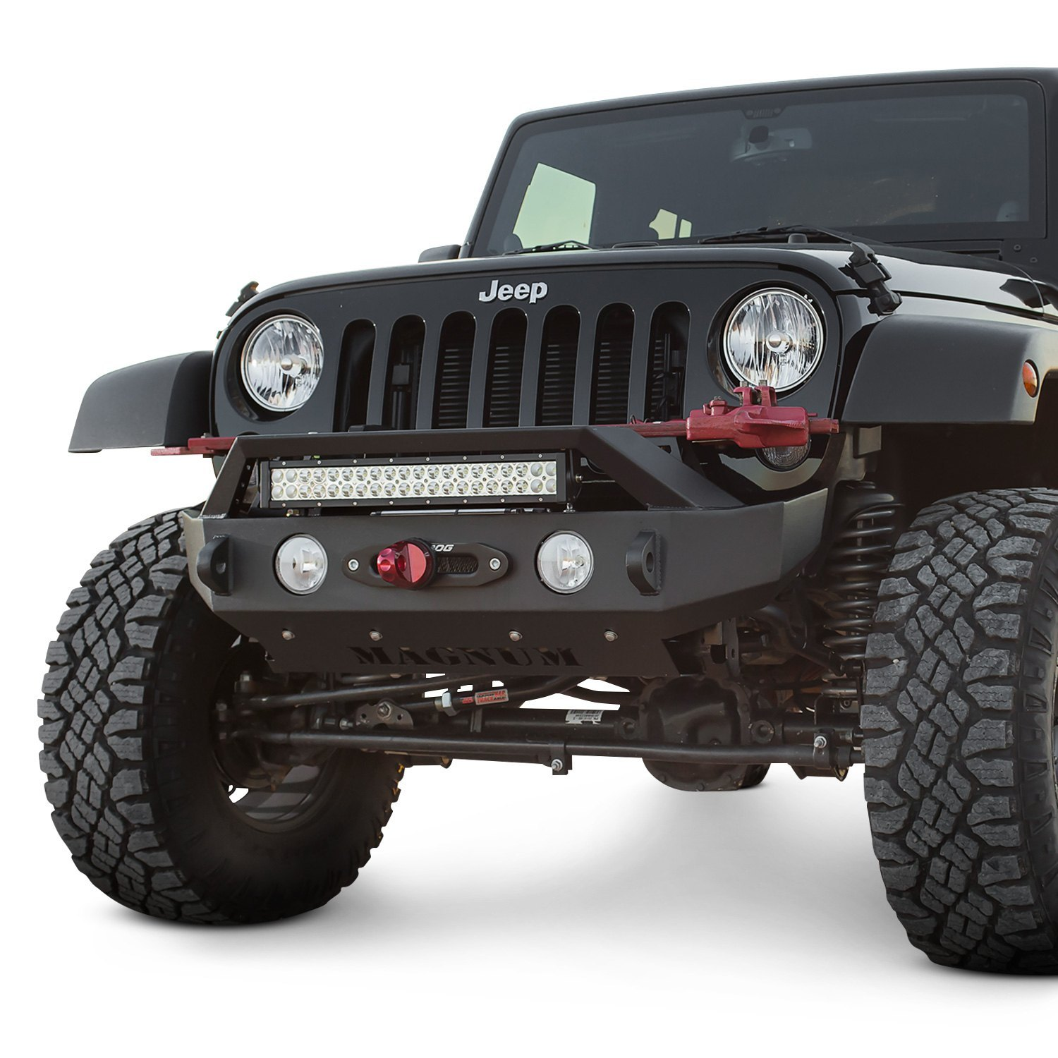 Ici magnum mid width black front winch hd bumper with rt series light bar mount ici magnum mid width front hd black bumper aloadofball Image collections
