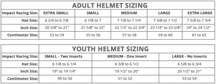 Impact - Helmet Size Chart