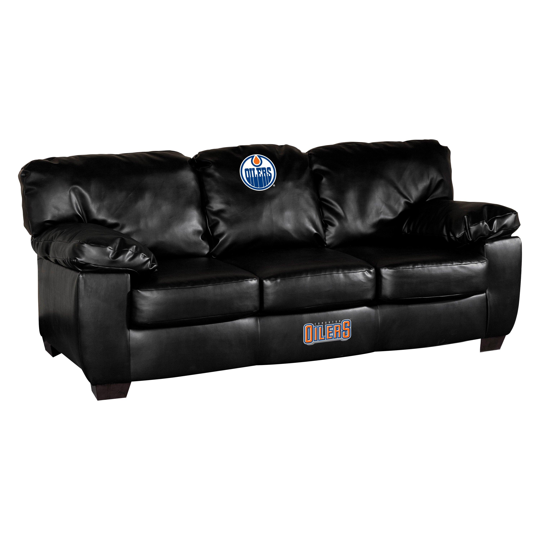 new photos 3f4f3 fd303 Imperial International® IMP 79-7113 - NHL Classic Black Leather Sofa with  Edmonton Oilers Logo