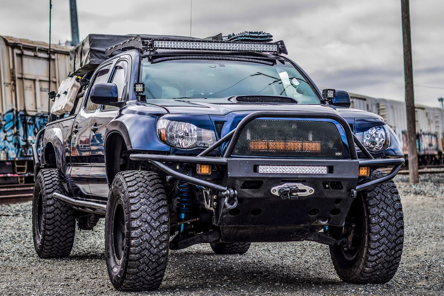 Toyota Tacoma Mods >> Blue Rescue Toyota Tacoma From Grillcraft Carid Com Gallery