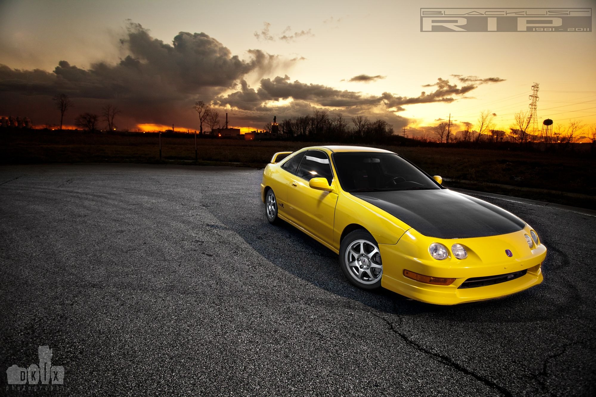 Yellow Acura Integra Goes In Style Wearing Carbon Fiber Hood CARiD - Acura integra carbon fiber hood