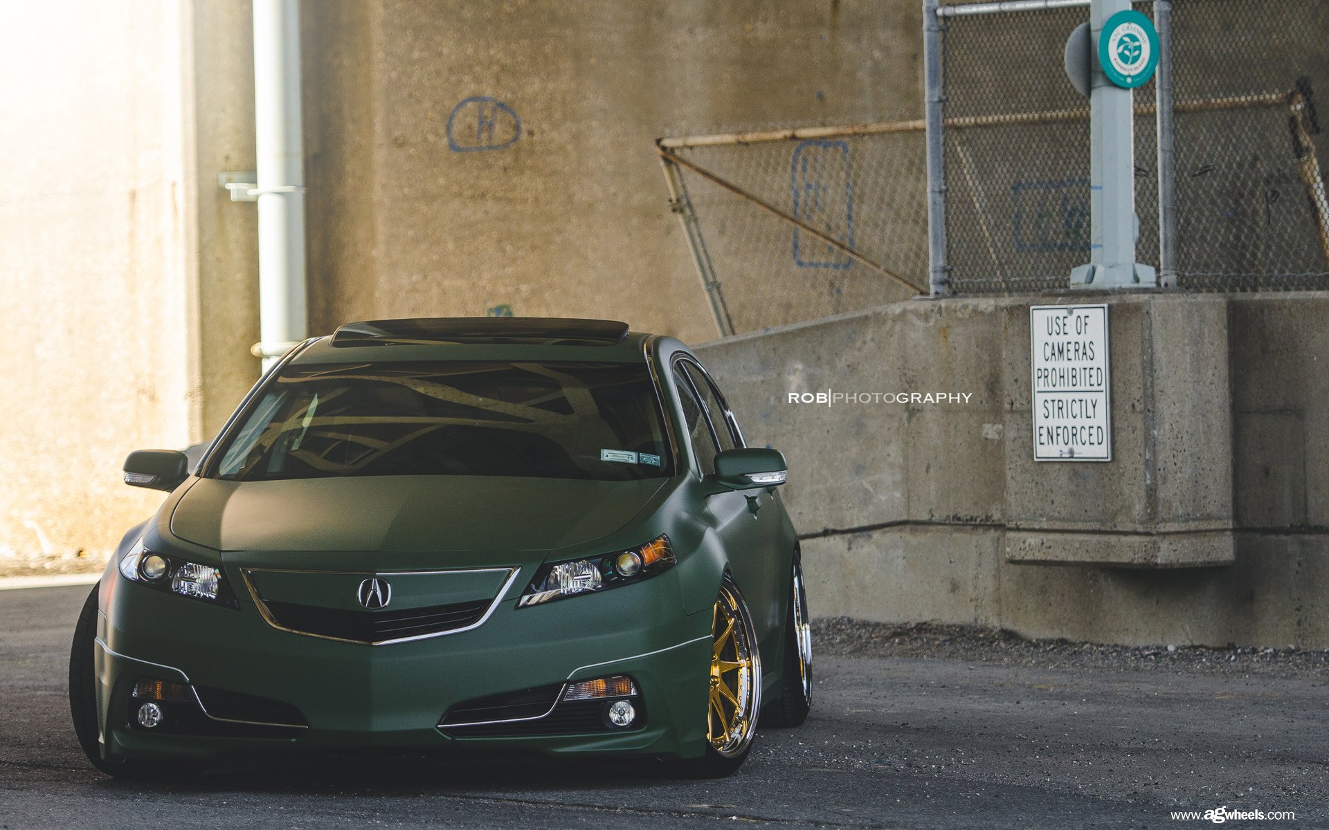 TL With A Winning Color Combo Dark Green Matte Paint And Gold Rims - Acura tl gold rims