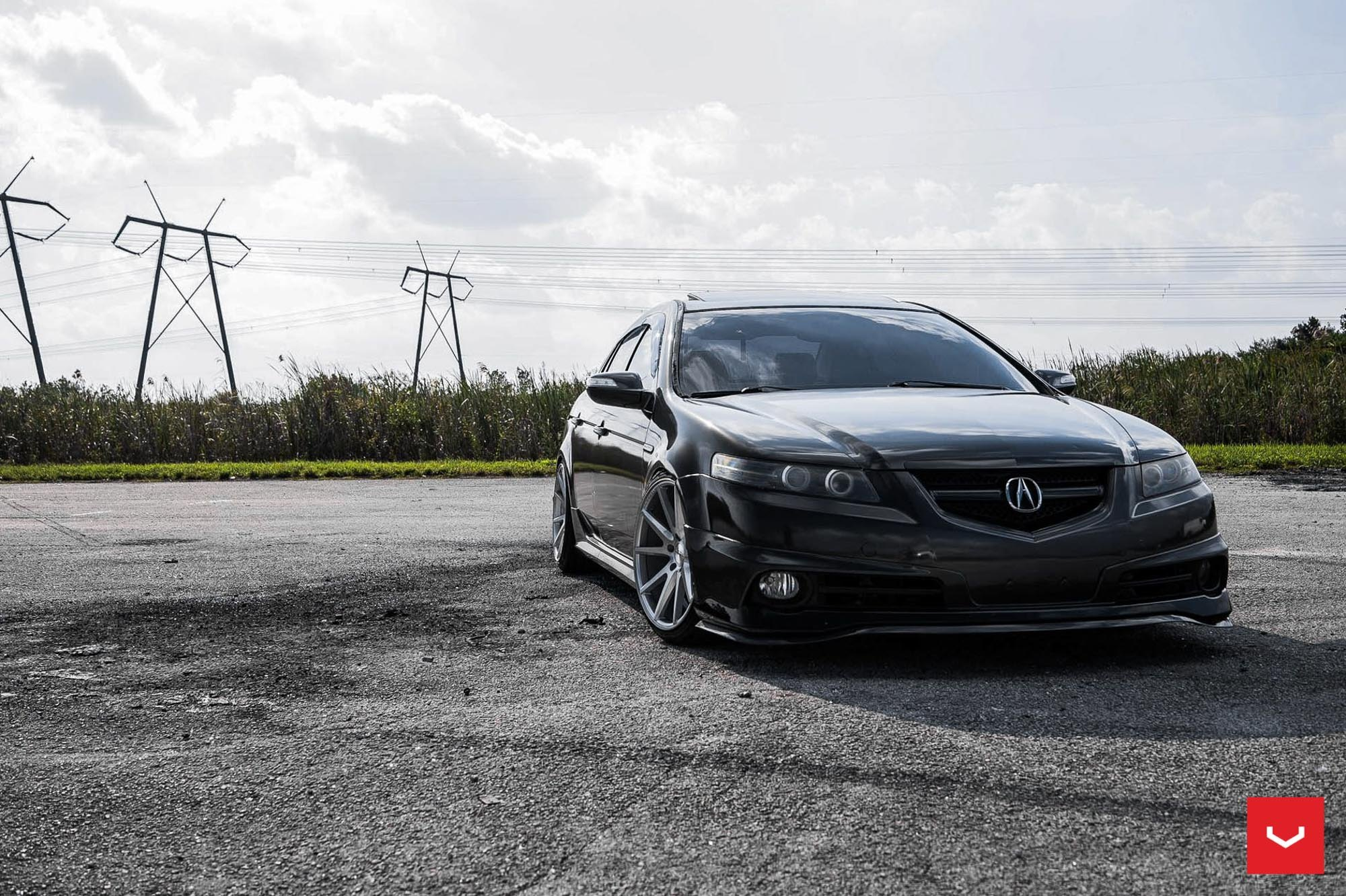 Stanced Acura TL With A Front Bumper Lip By Vossen Wheels CARiD - Acura tl bumper