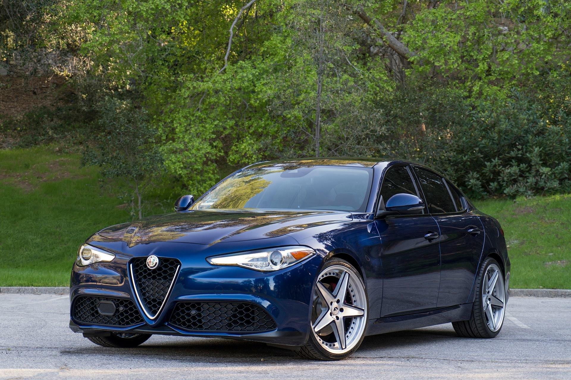Unique Chrome Forgiato Wheels Enhancing Blue Alfa Romeo Guilia Custom Front Bumper On Photo By