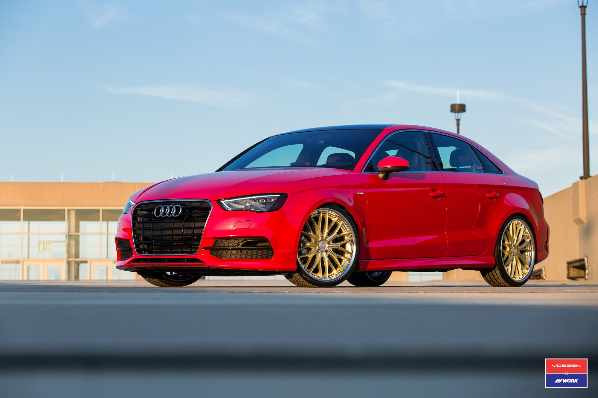 Perfect Combo Of Red And Gold: Audi A3 On Custom Wheels