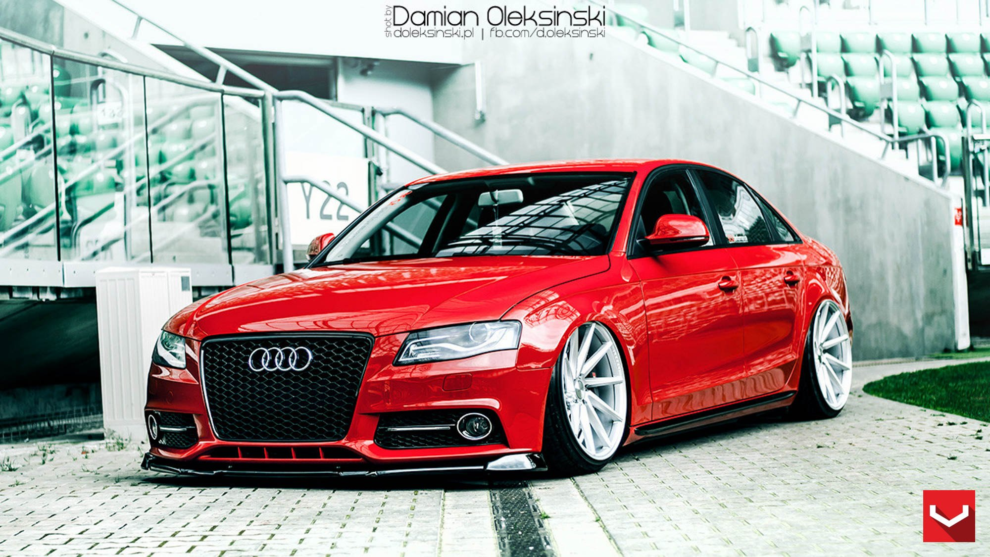 eye candy red audi a4 on custom wheels gallery. Black Bedroom Furniture Sets. Home Design Ideas