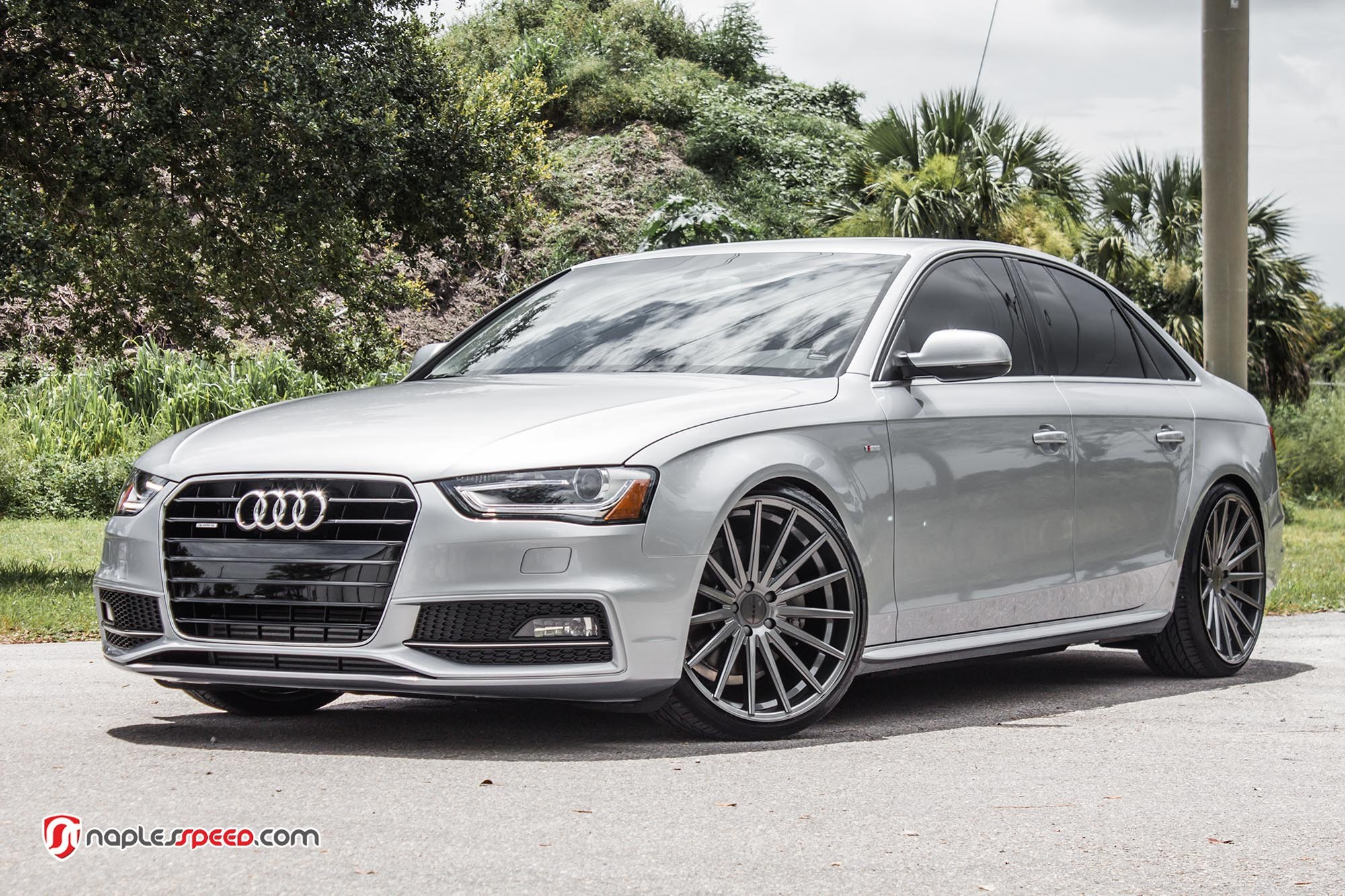 Silver Audi A4 On Color Matched Custom Wheels Carid Com Gallery