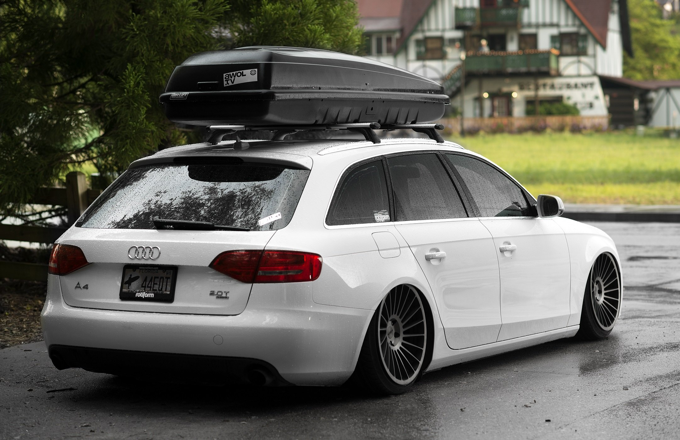 white audi a4 with brushed black rotiform rims - photo by rotiform