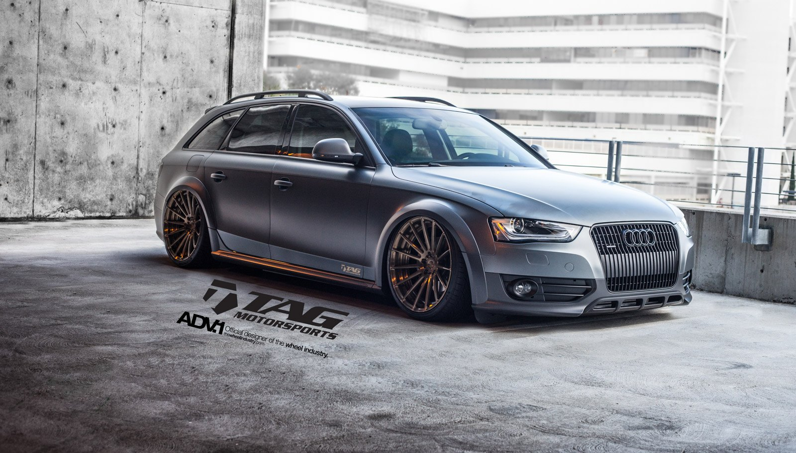 Bold matte gray audi a4 allroad rolling on air suspension and adv1 gray matte audi a4 with aftermarket front bumper photo by adv1 sciox Gallery