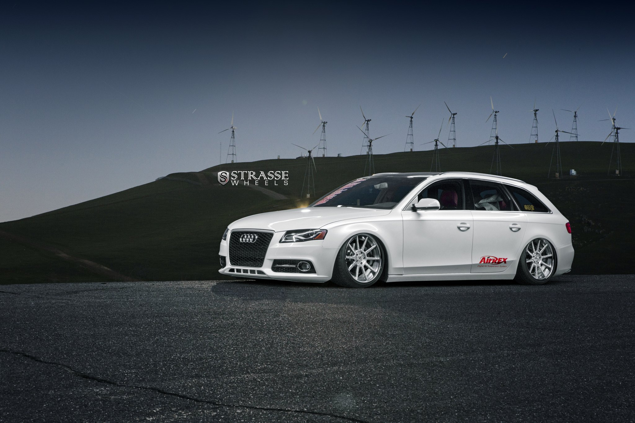 Custom Audi A4 Images Mods Photos Upgrades Gallery White Black Rims Front Bumper With Led Lights On Photo By Strasse Forged