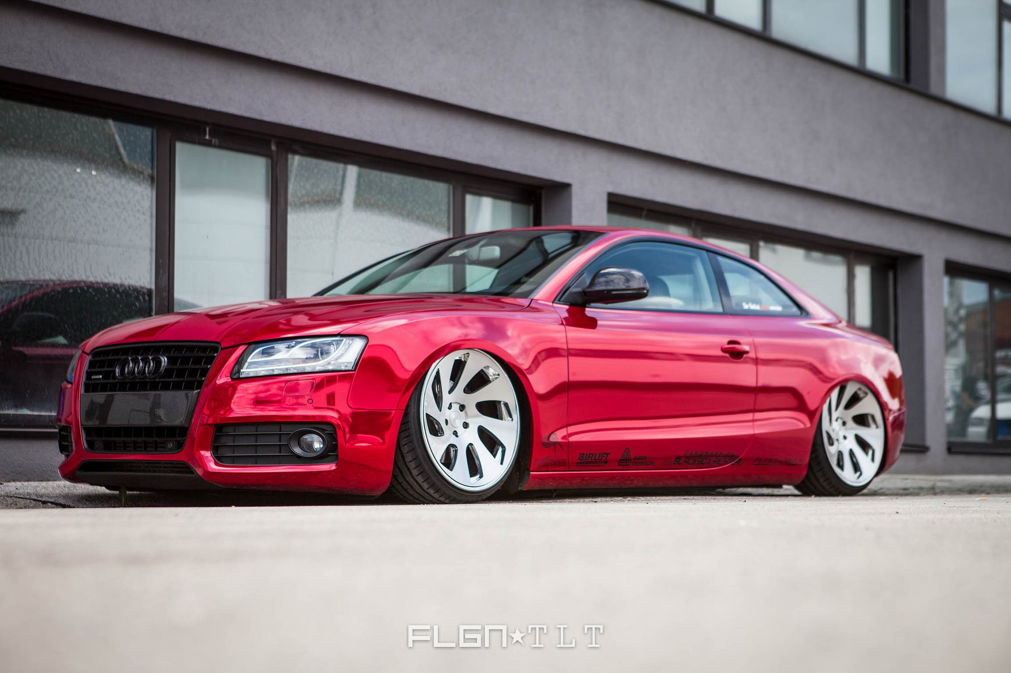 Audi a5 with red chrome wrap and rotiform custom rims photo by rotiform