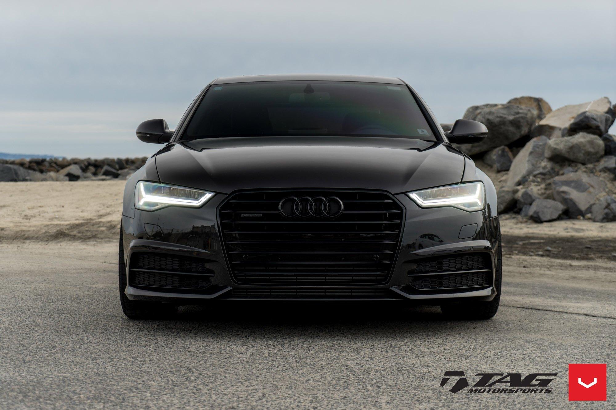 All Black Audi A6 Quattro On Vossen Vfs2 Rims Carid Com