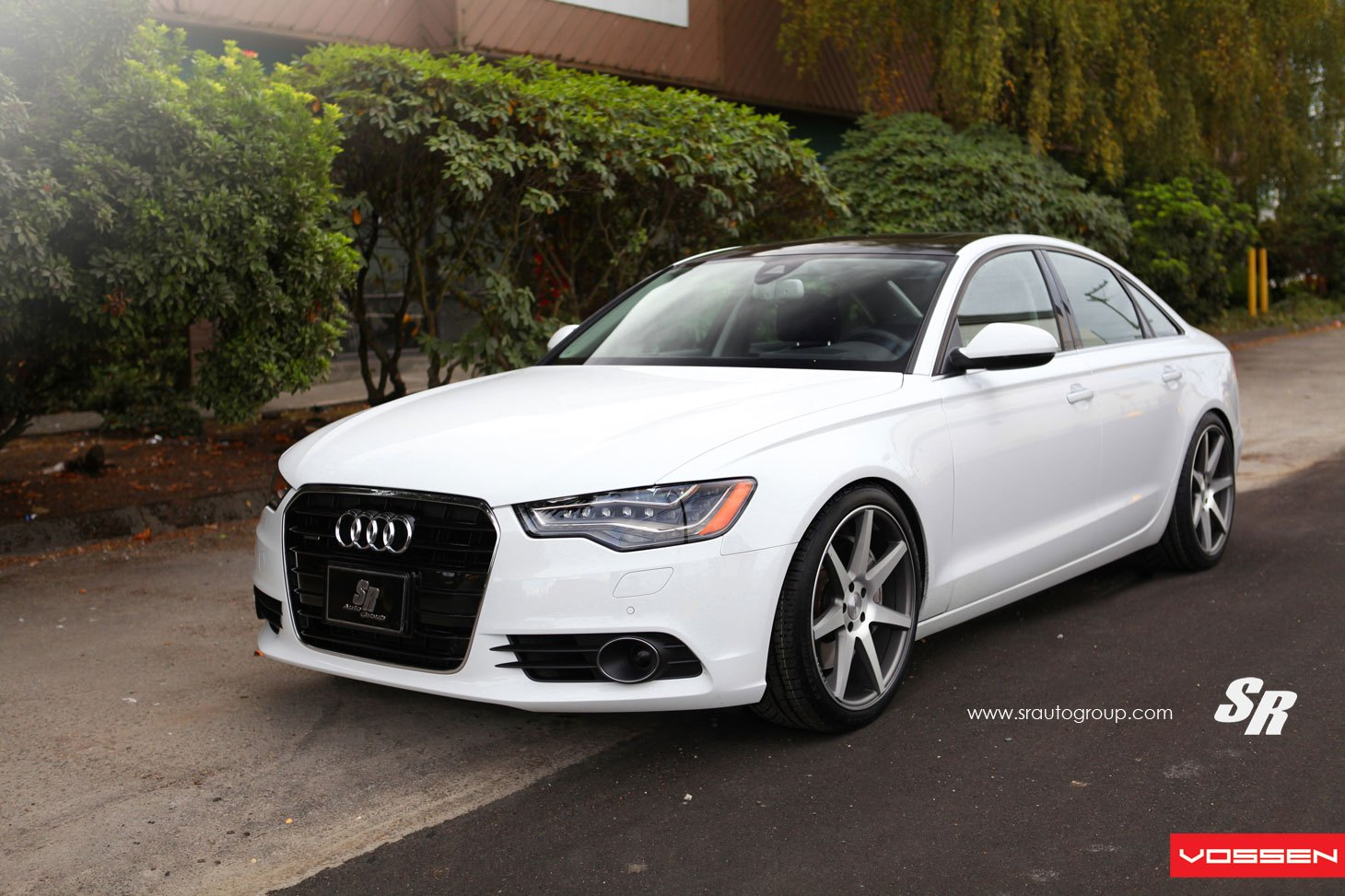 White Audi A6 With Blacked Out Grille   Photo By Vossen