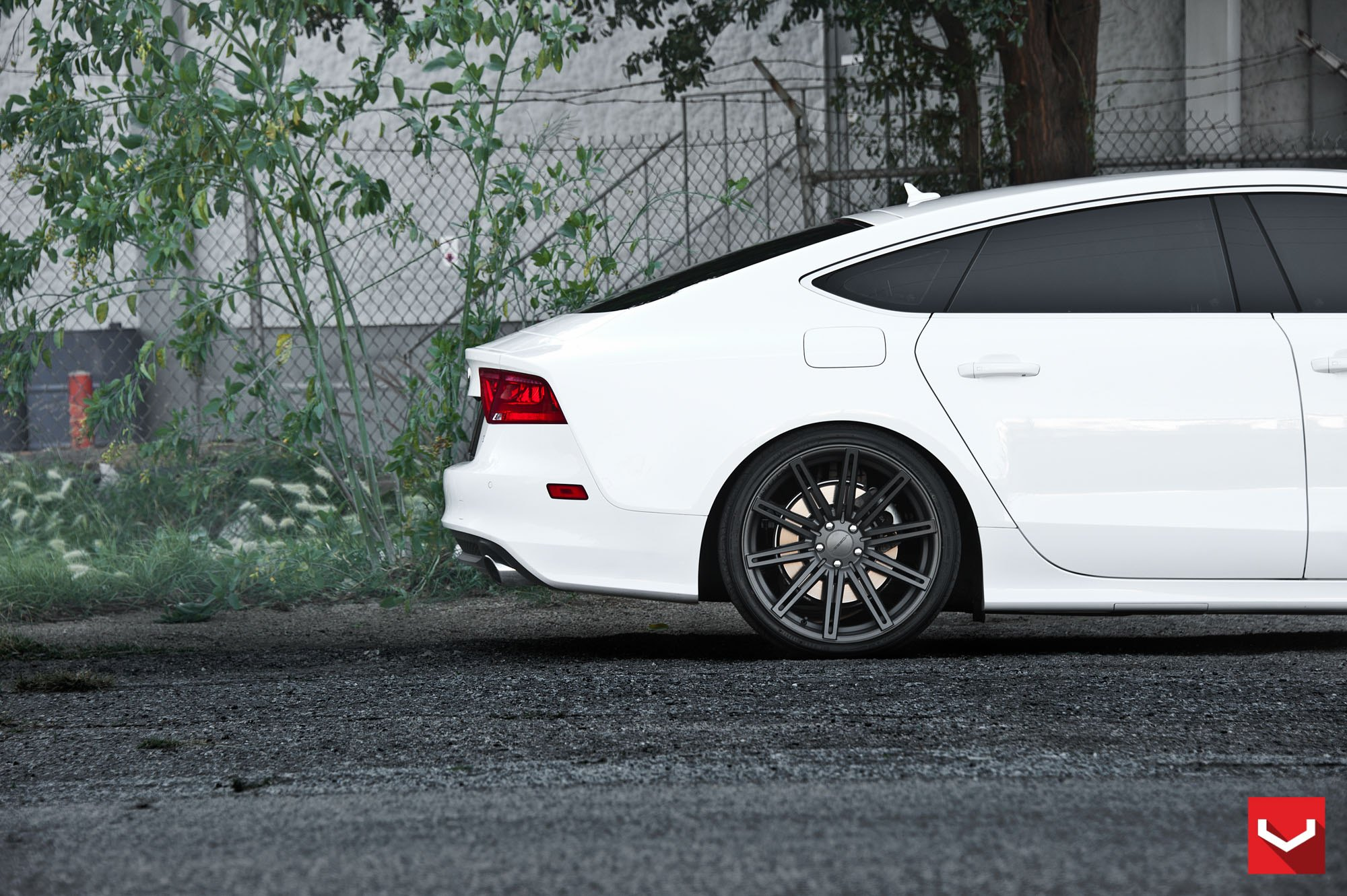 audi a7 white with black rims. aftermarket red taillights on white audi a7 photo by vossen with black rims d