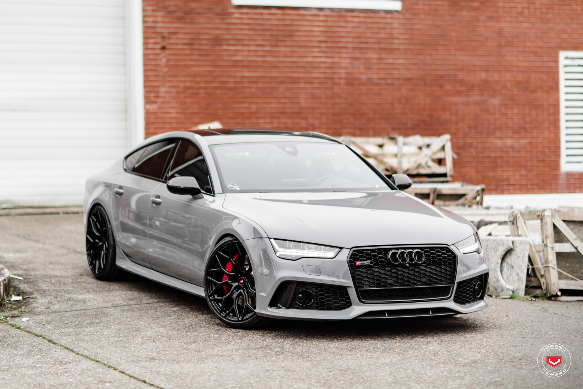 Gray Audi A7 With Crystal Clear LED Headlights   Photo By Vossen