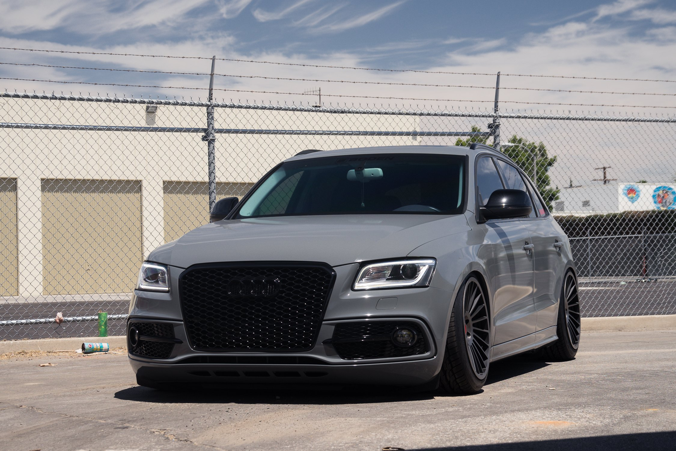 Custom Painted Audi Q5 Sitting Low On Black Rotiform