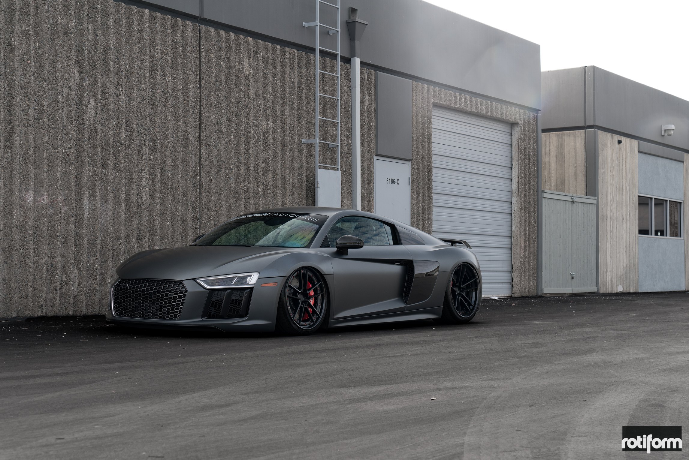 Mighty matte black audi r8 with custom body kit and air suspension gray matte audi r8 with custom front bumper photo by rotiform publicscrutiny Choice Image