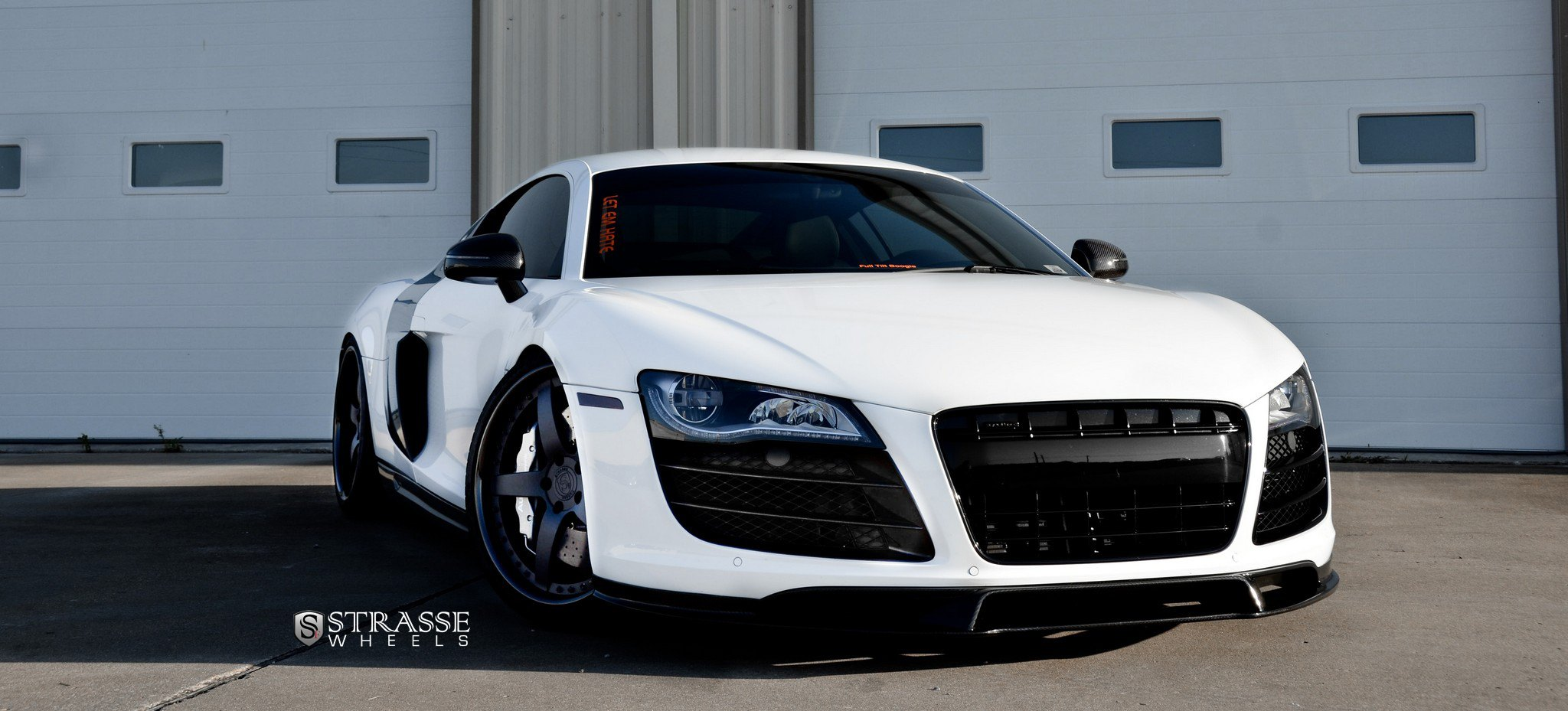 extremely stylish white audi r8 enhancedblacked out grille and