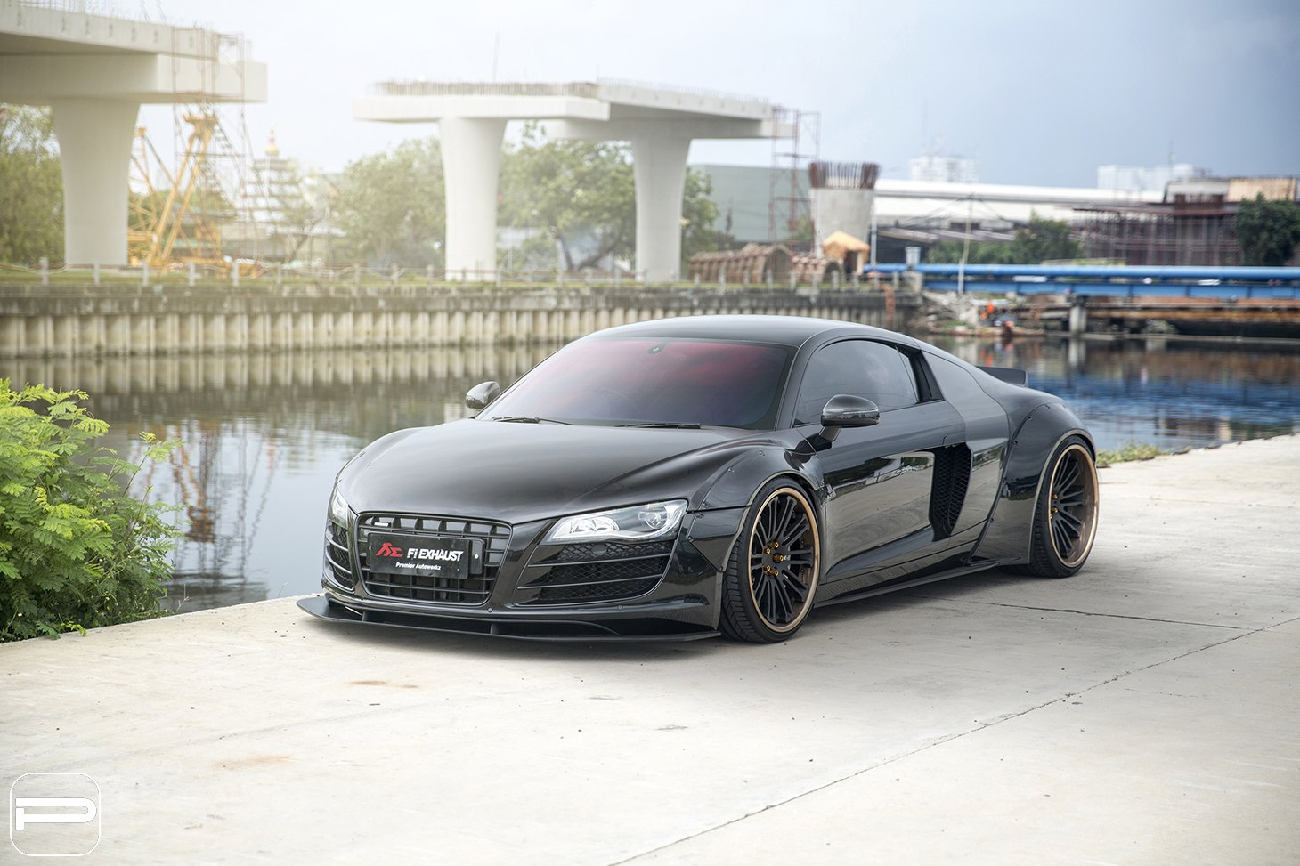 Sleek Black Audi R8 Upgraded With A Body Kit And Diamond Pur Wheels