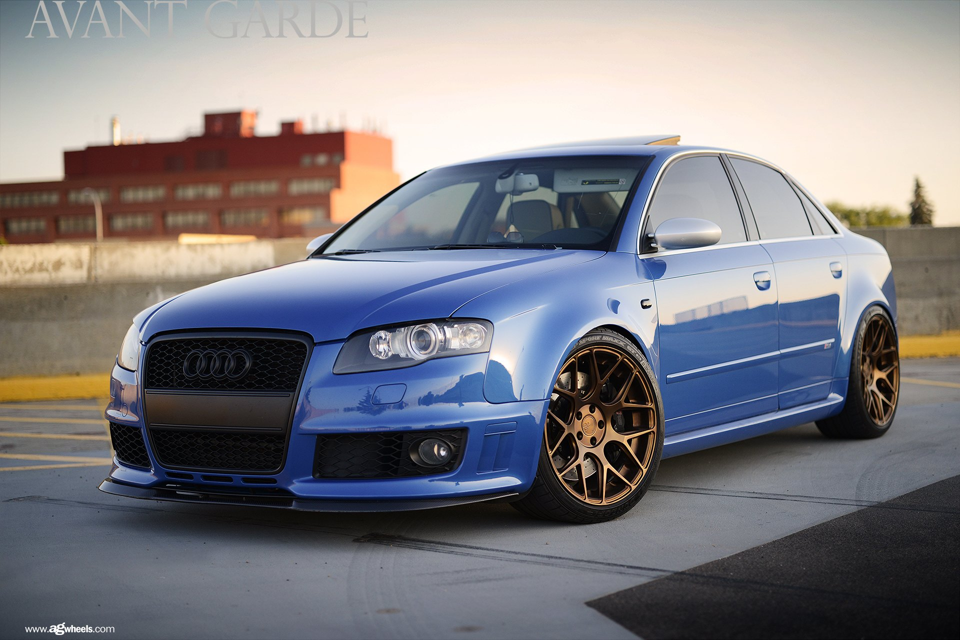 royal look of custom blue audi s4 with blacked out grille. Black Bedroom Furniture Sets. Home Design Ideas