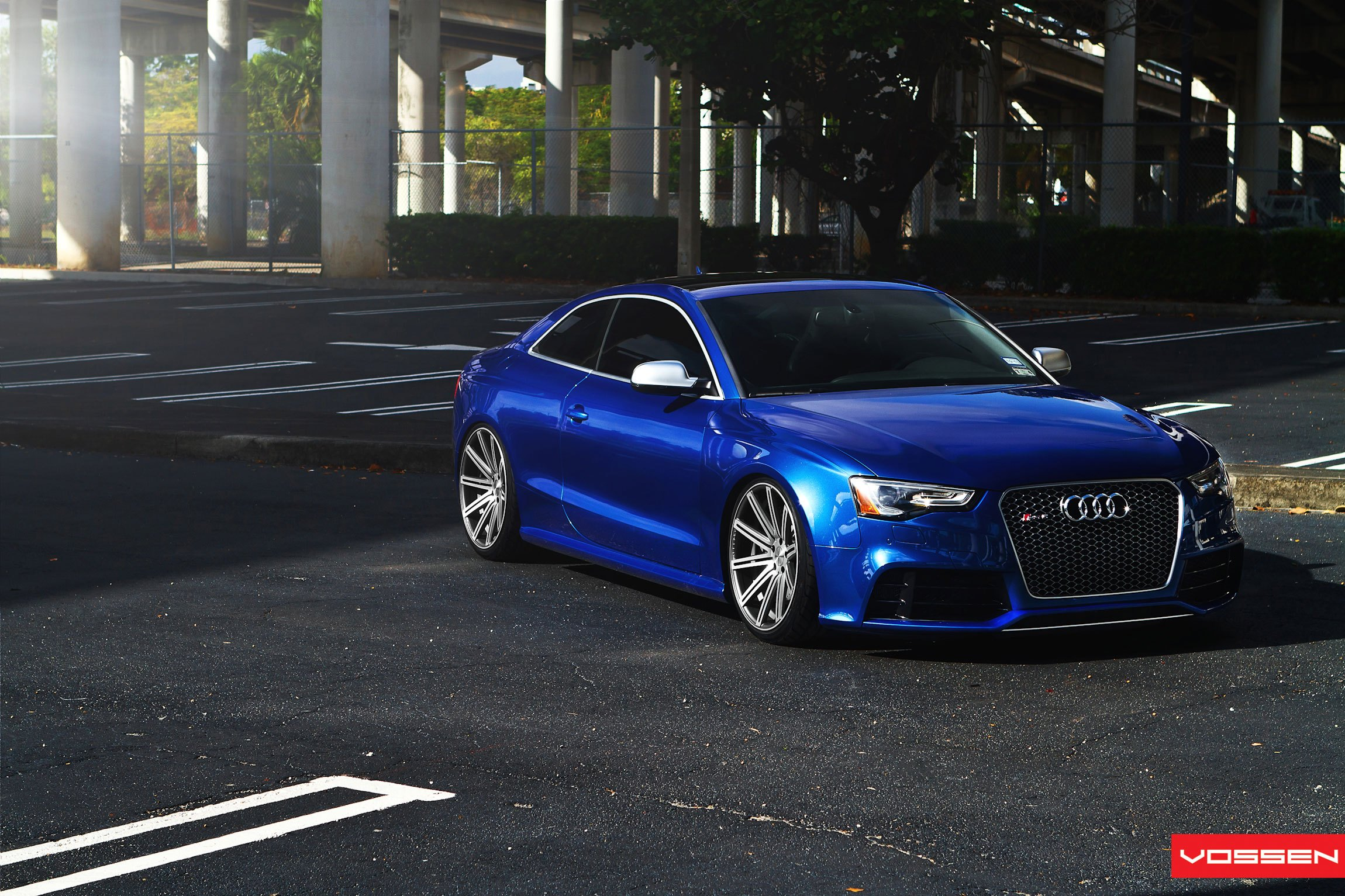 Electric Blue Audi S5 Gets A Lowering Kit And Aftermarket