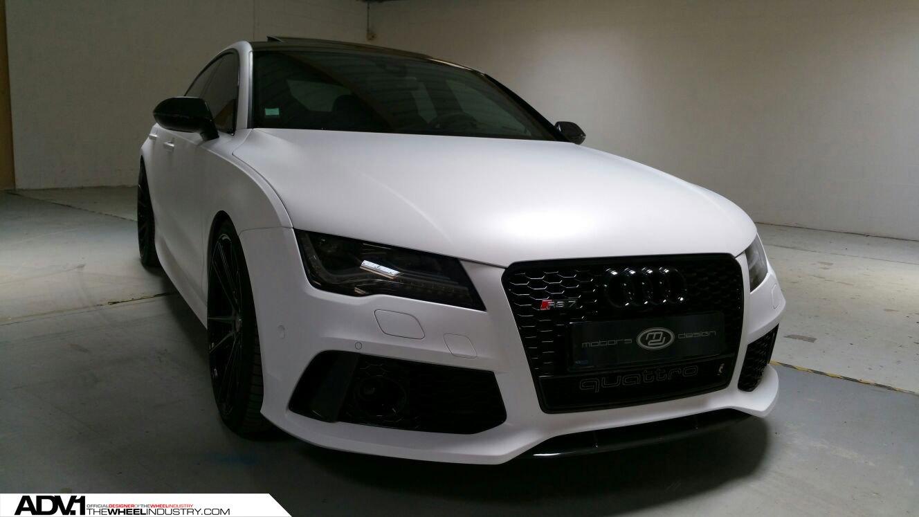 Stunning Matte White Audi Rs7 Sitting On Black Adv1 Custom Wheels Carid Com Gallery