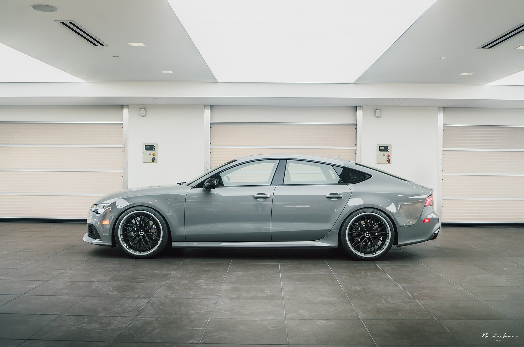 Custom Gray Audi S7 Side Skirts - Photo by Brixton Forged Wheels