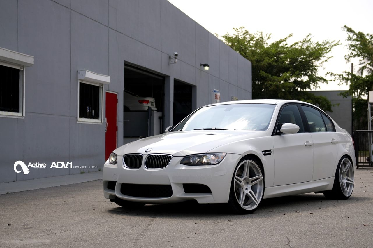 White BMW 3-Series with Aftermarket Halo Headlights  - Photo by ADV.1