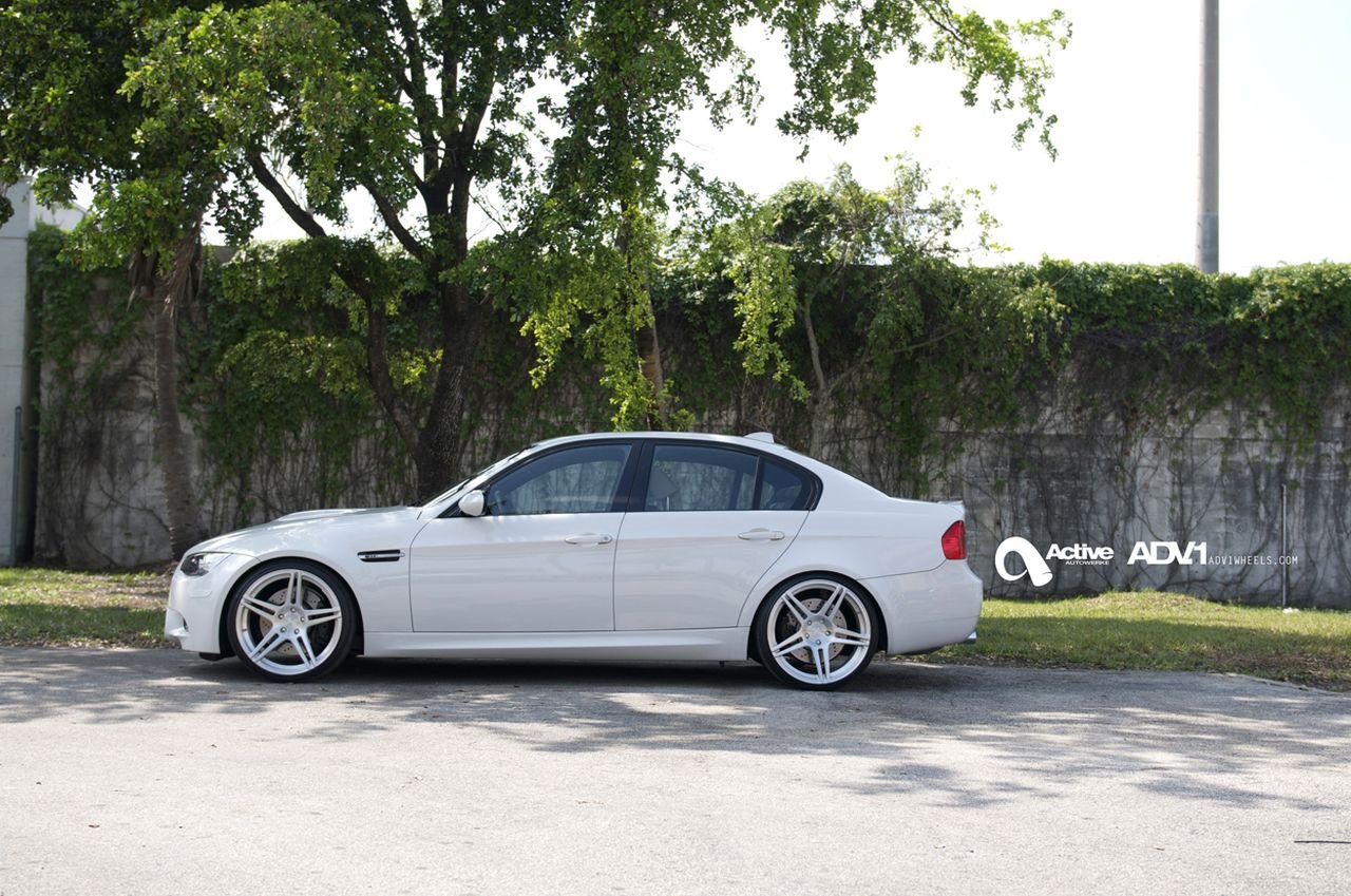 White BMW 3-Series with Brushed Aluminum ADV1 Rims - Photo by ADV.1