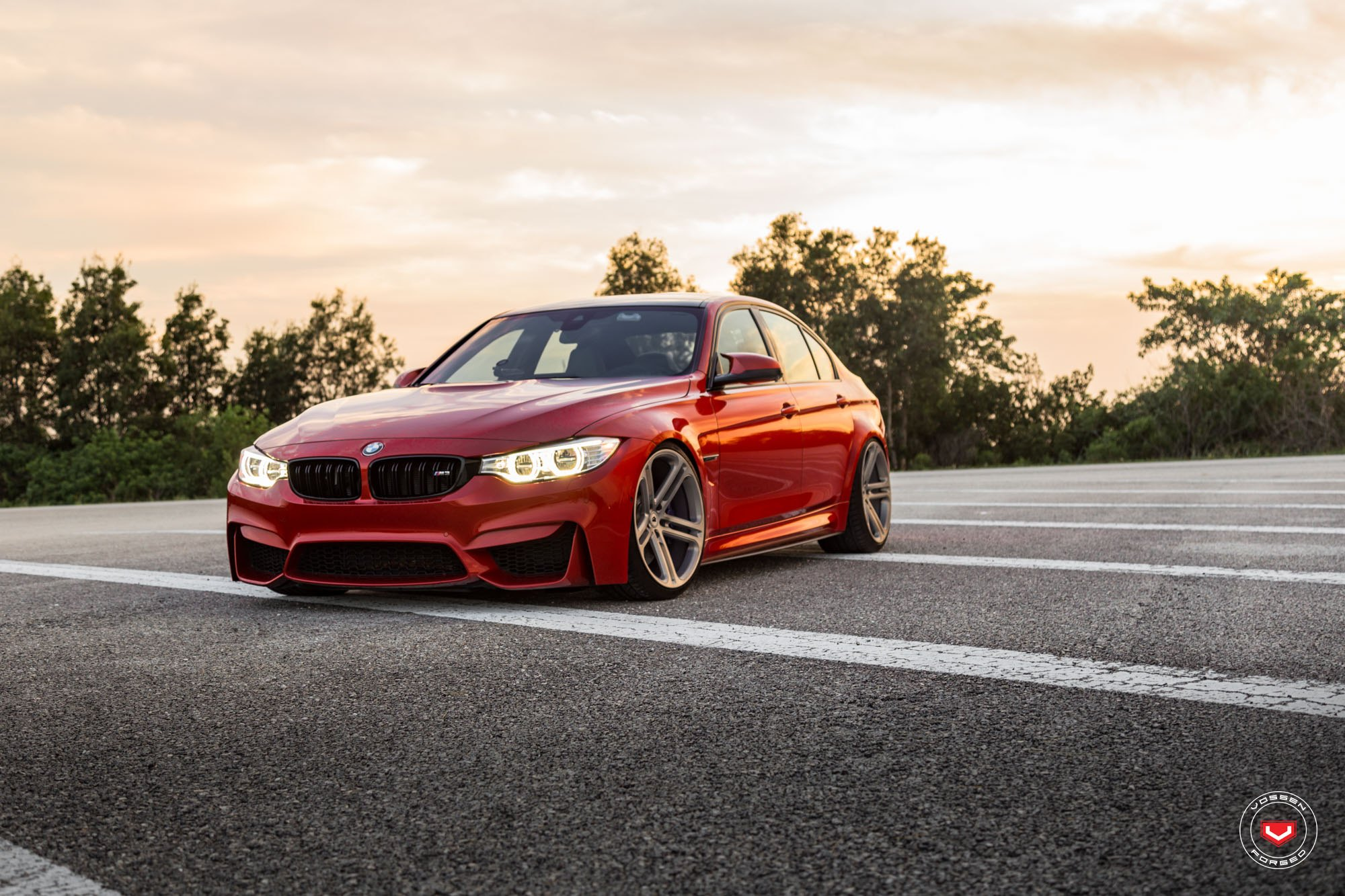 red bmw m3 f30 sedan on vossen cg202 wheels gallery. Black Bedroom Furniture Sets. Home Design Ideas