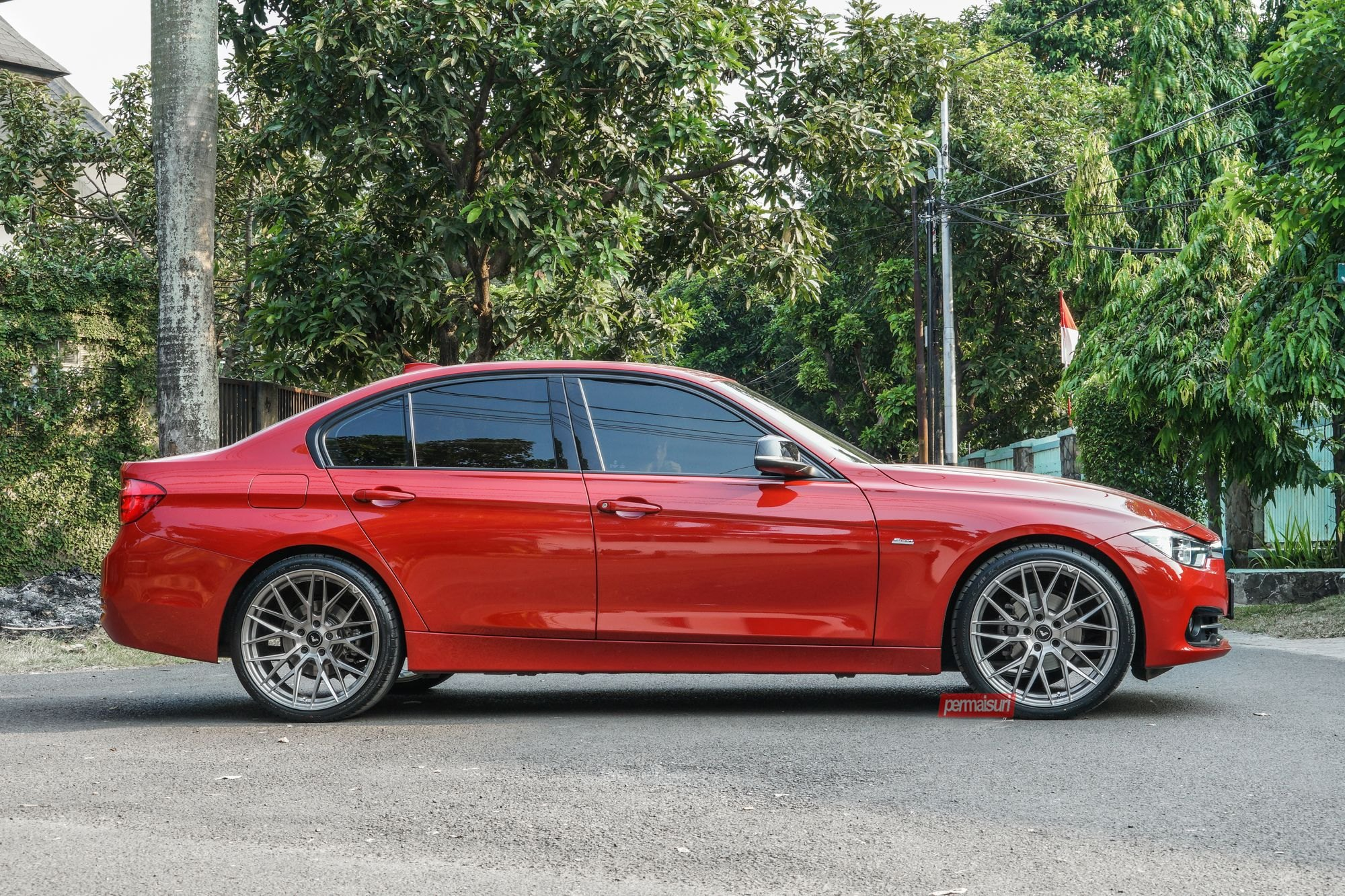 Reworked Face Of Red Bmw 3 Series With Front Bumper Featuring Custom