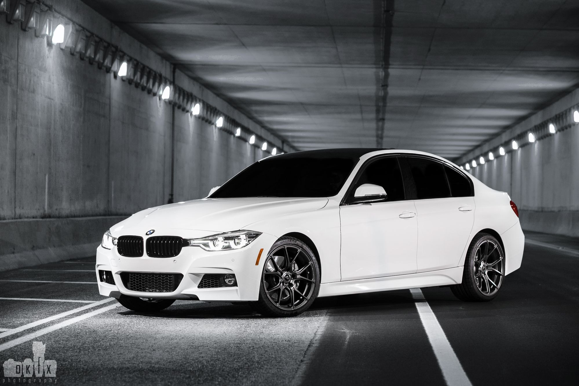 Front Bumper With Fog Lights On White BMW 3 Series