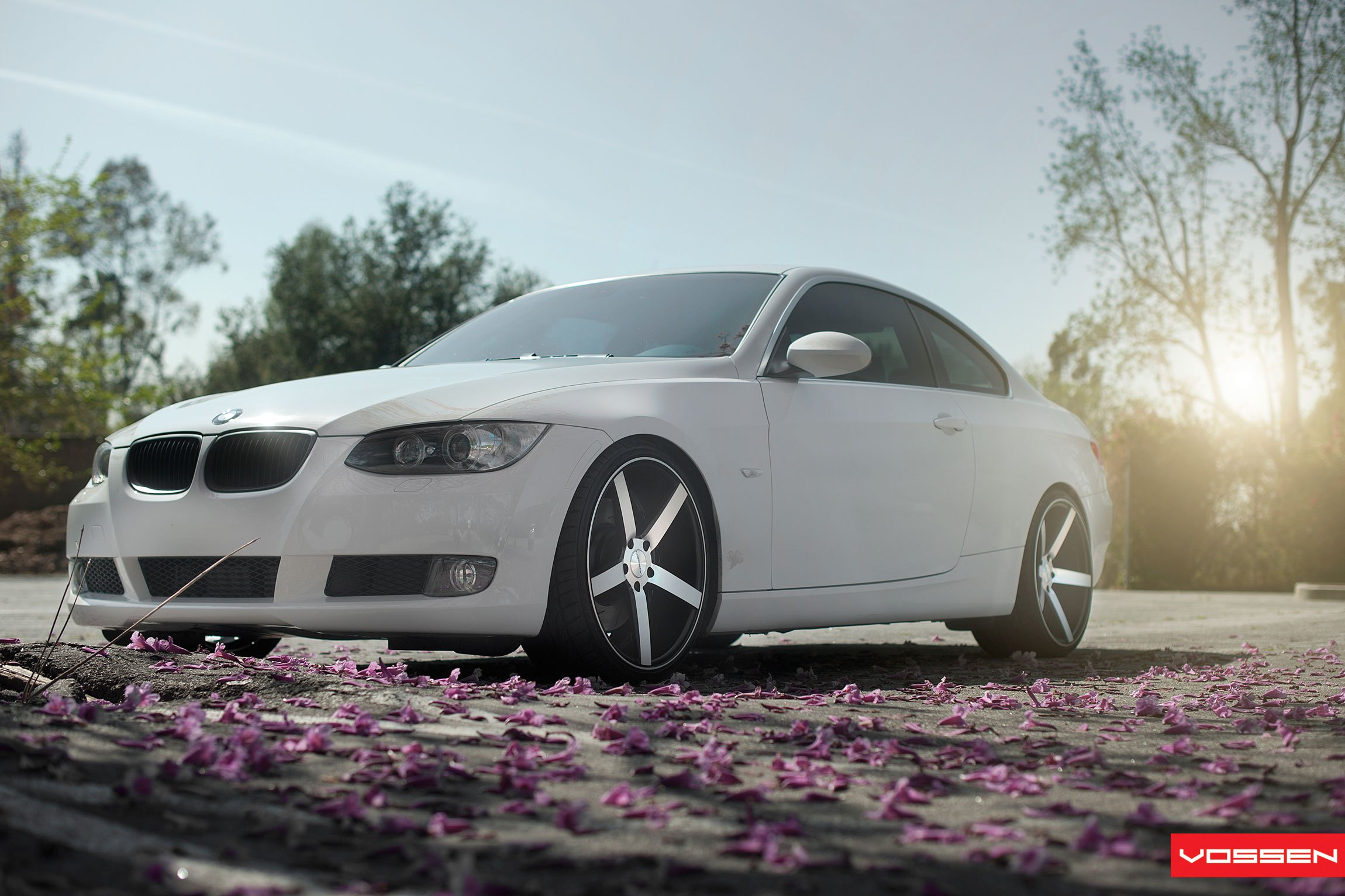White BMW 3-Series with Crystal Clear Headlights - Photo by Vossen