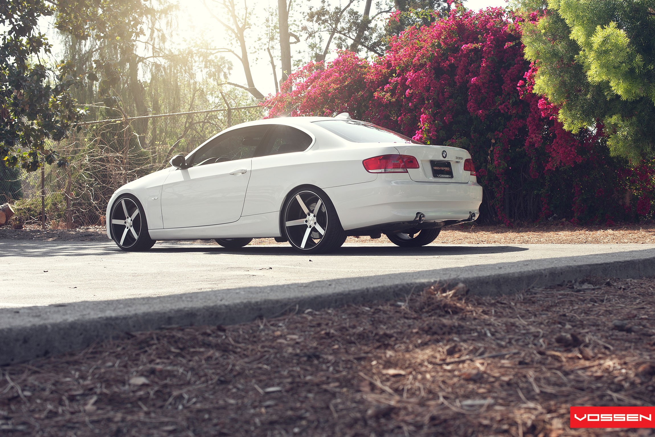 White BMW 3-Series with Custom Rear Bumper Cover - Photo by Vossen