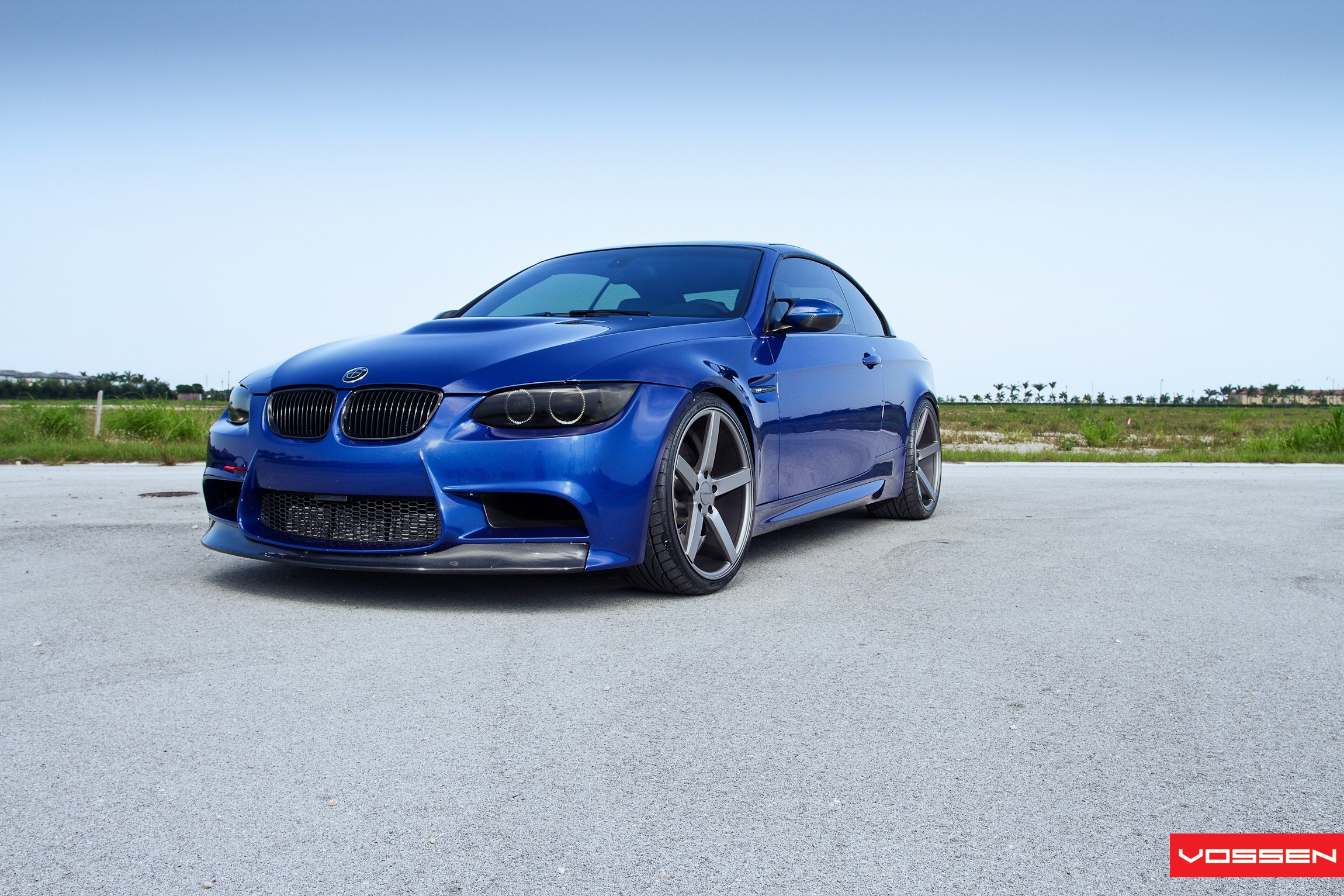 Blue BMW 3-Series with Custom Carbon Fiber Front Lip - Photo by Vossen