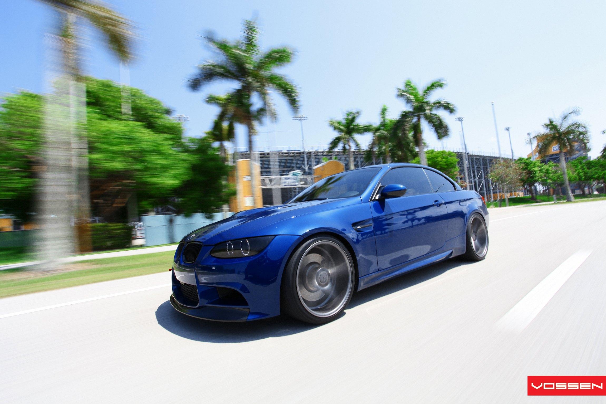 Dark Smoke Halo Headlights on Blue BMW 3-Series - Photo by Vossen