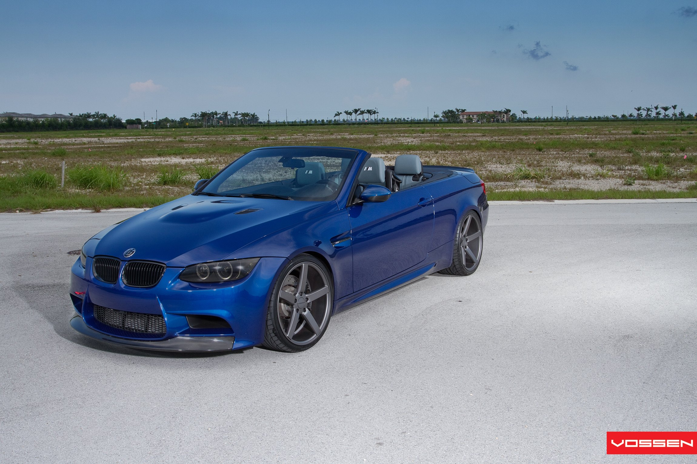 Blue Convertible BMW 3-Series with Custom Hood - Photo by Vossen
