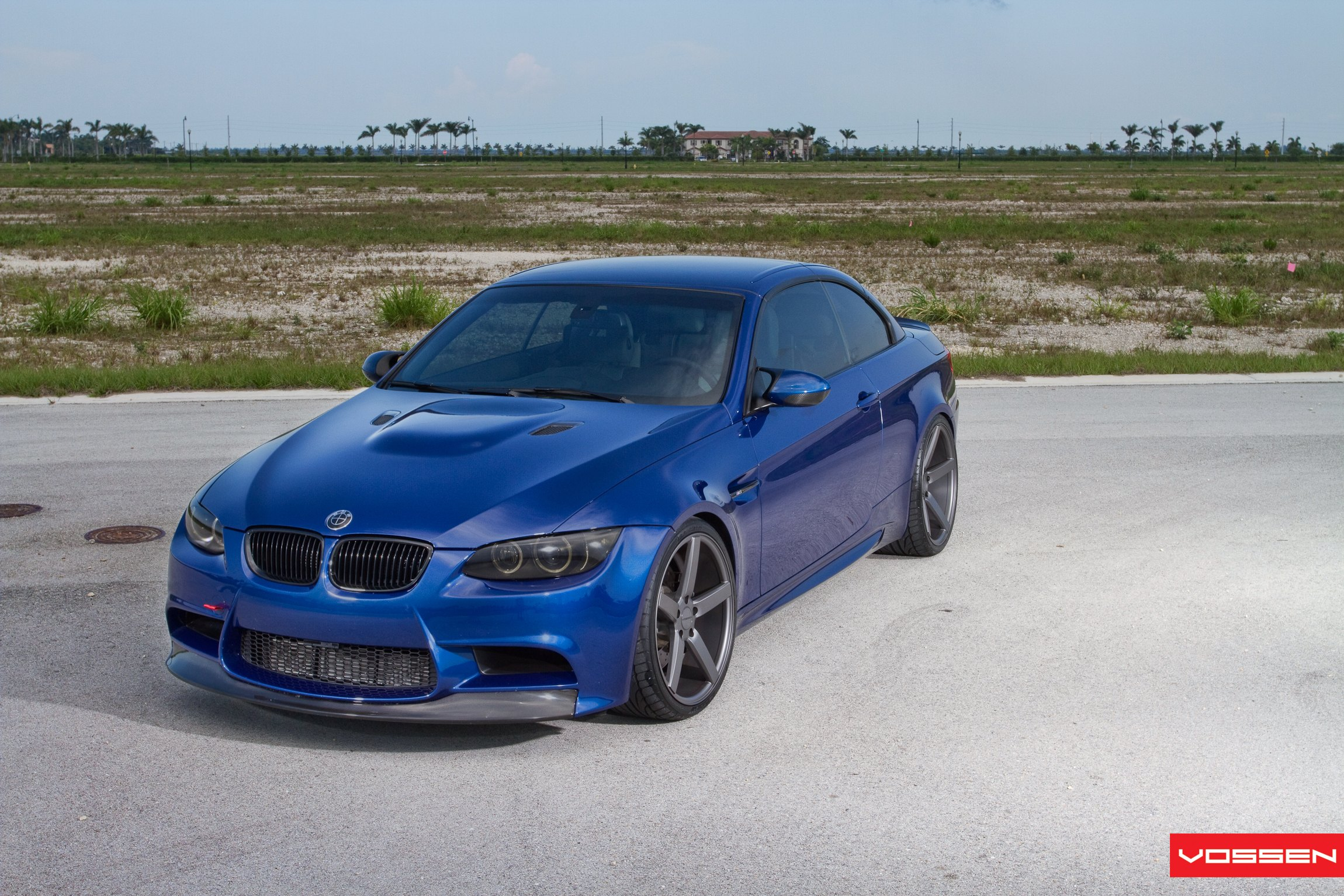 Custom Hood with Air Vents on Blue Convertible BMW 3-Series - Photo by Vossen