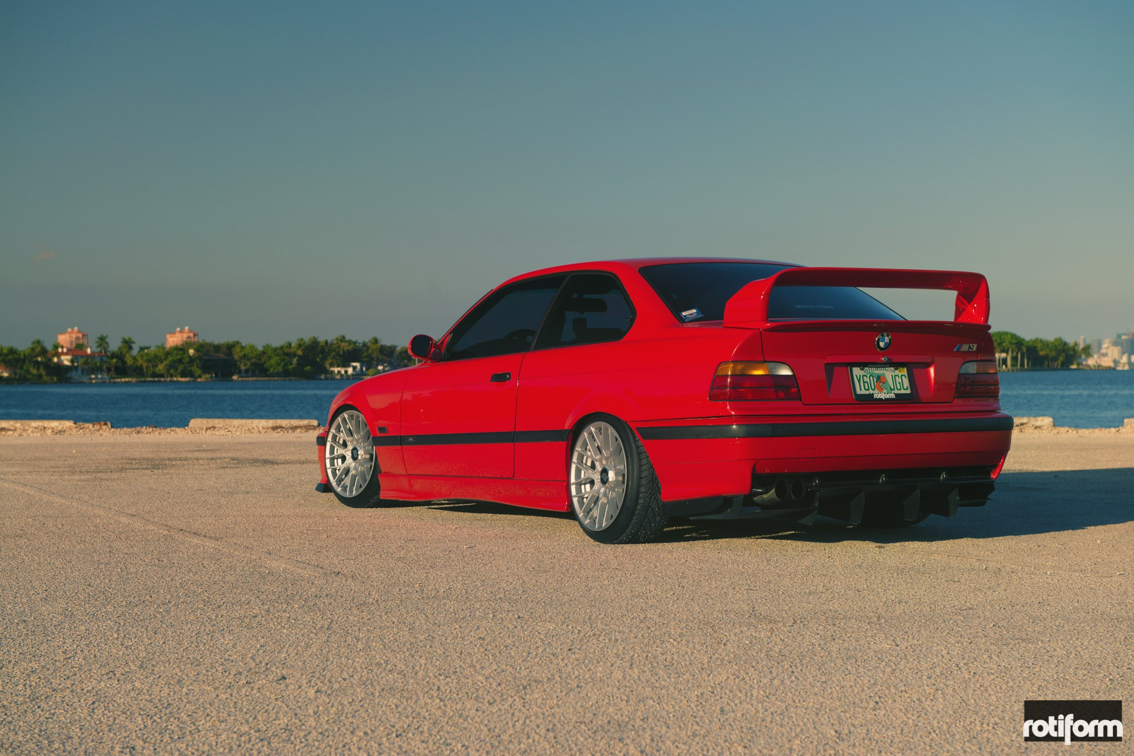 Classic Bmw M3 E36 In Bright Red Color Fitted With Stylish Rotiform Rims Carid Com Gallery