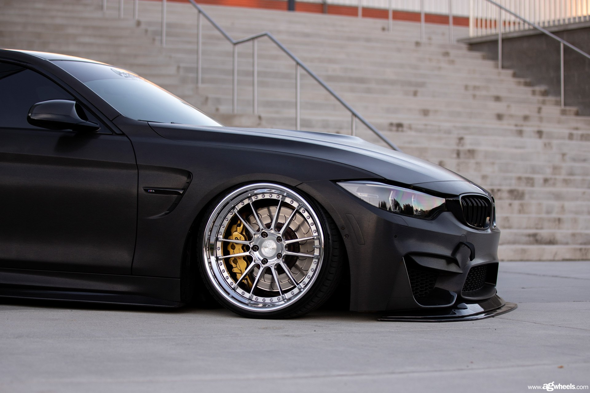 Stanced Blacked Out Bmw 4 Series Shod In Contrasting Chrome Rims Carid Com Gallery