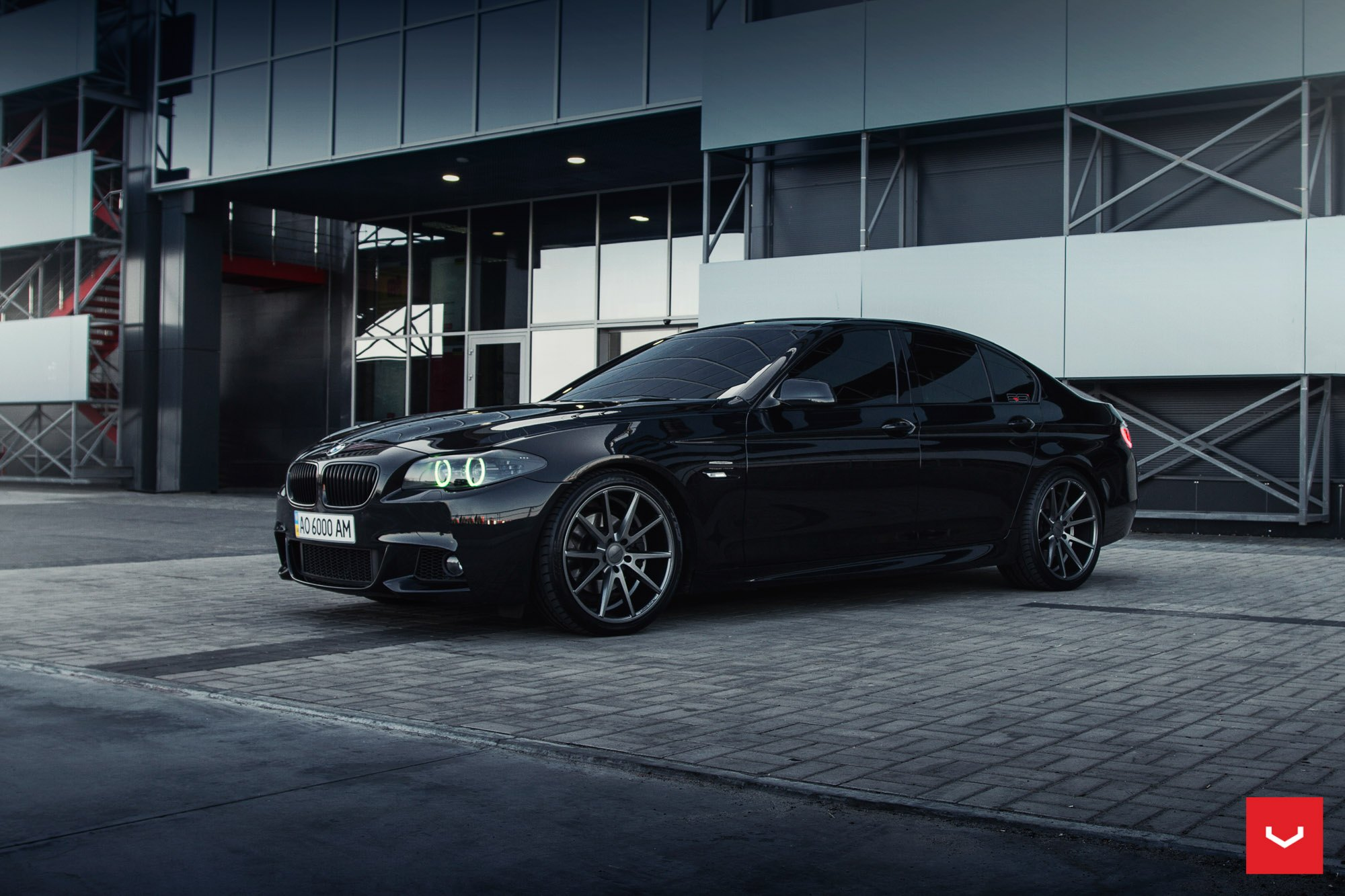 Black Bmw 5 Series With Color Changing Halos By Vossen