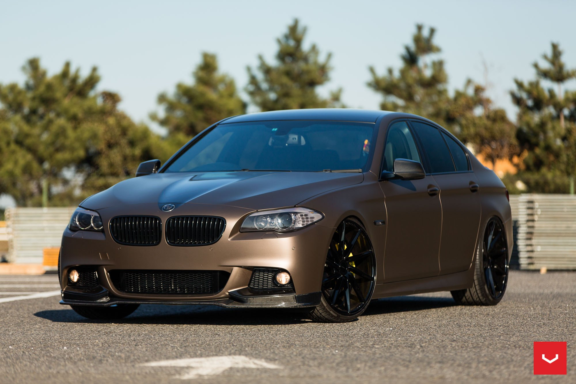 Bronze Wrapped Bmw M5 With Carbon Fiber Bumper Lip By Vossen Carid Com Gallery