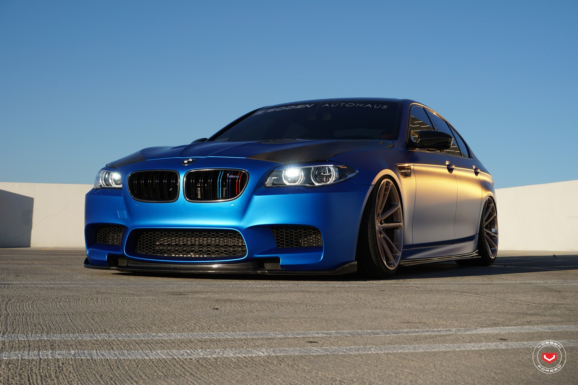 slammed bmw m5 f10 on custom painted vossens gallery. Black Bedroom Furniture Sets. Home Design Ideas
