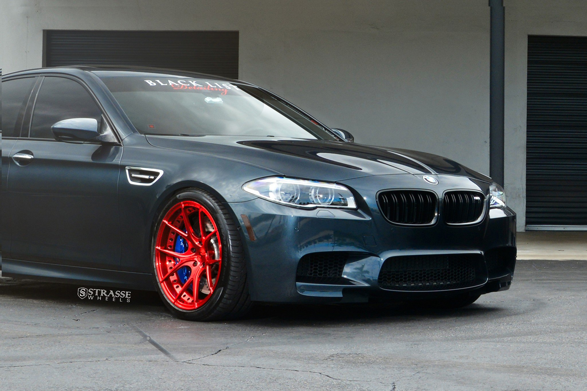 For Show Dark Blue Bmw 5 Series Put On Candy Red Wheels Carid Com Gallery