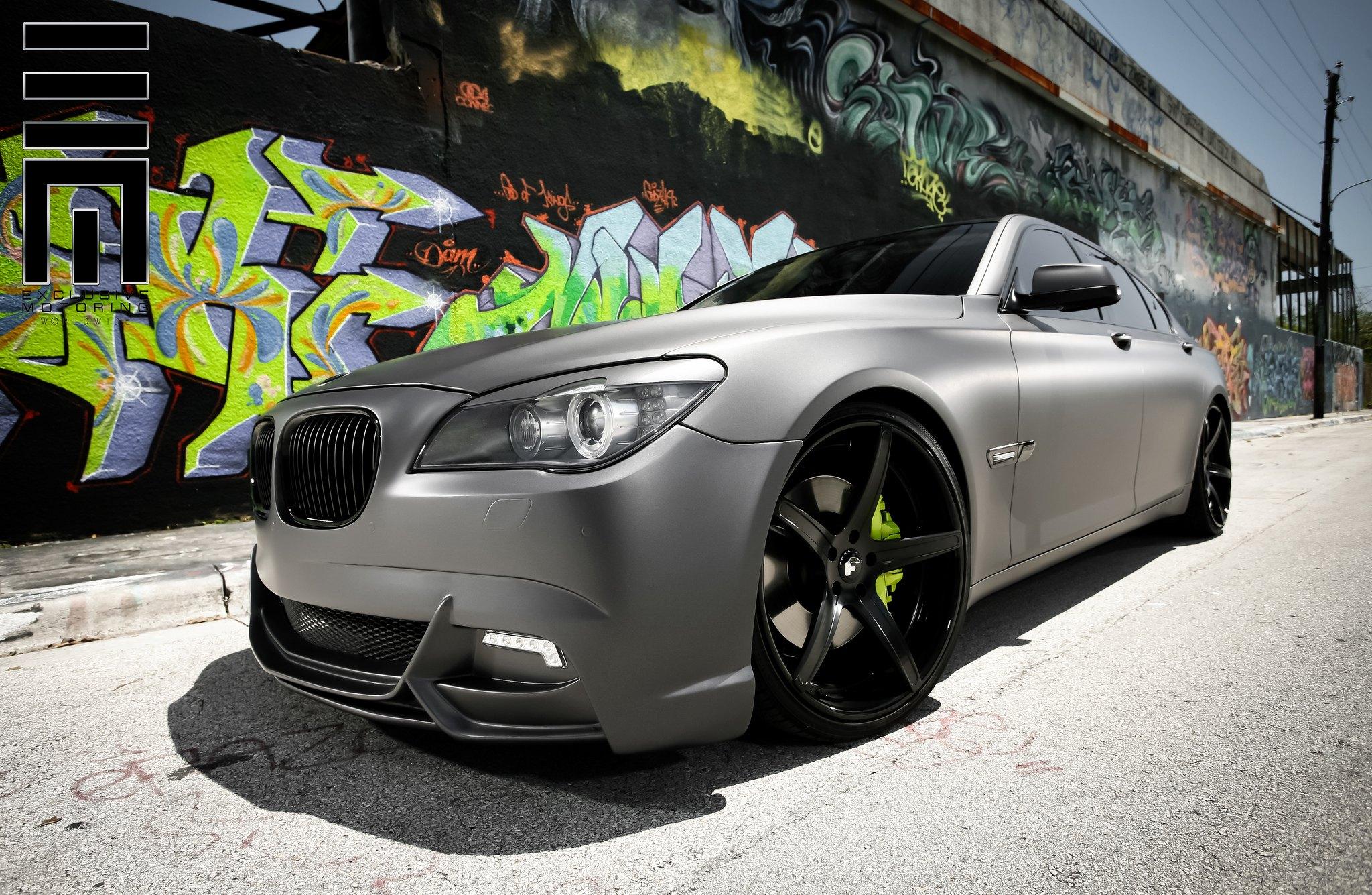 2012 BMW 750Li >> Matte Gray BMW M7 on Forgiato Custom Wheels — CARiD.com ...