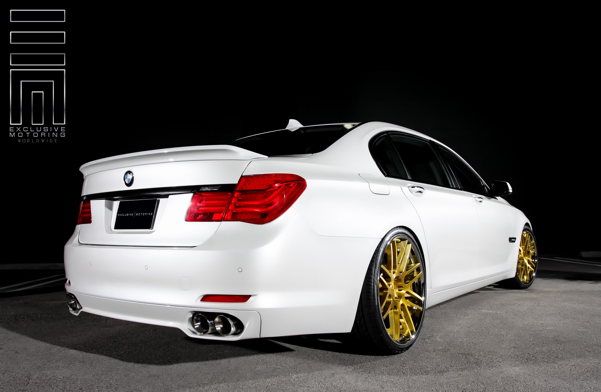 Alpine White BMW Alpina B7 On Contrasting Gold Wheels